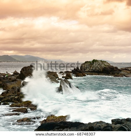 Da Armacao beach - Florianopolis - SC - Brazil - stock photo