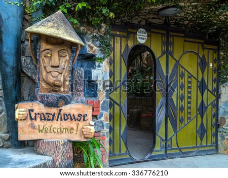 DA LAT CITY, VIETNAM - January 28, 2015: Hang Nga Guesthouse Crazy House, design Interior and Exterior landmark architecture Odd House on January 28, 2015, in Dalat, Vietnam.