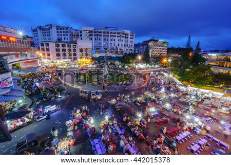 DA LAT CITY, VIETNAM - May 30, 2016: Night light of Center traffic Landmark at Da Lat city, Da Lat is one of the beautiful city in Viet Nam