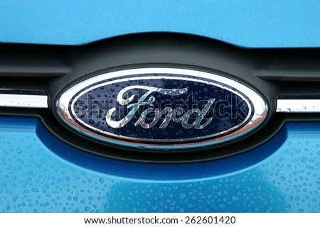 Da Lat, Viet Nam - July 19, 2014: Ford logo. It was founded by Henry Ford. The Ford Motor Company is an American multinational automaker.  - stock photo