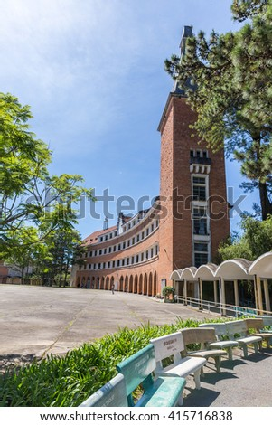 Da Lat, Vietnam-August 16, 2014: architectural beauty, founded in 1927 - Lycée Yersin, educate the children of French colonialists and upper class Vietnamese. Now is the Pedagogical College of Da Lat.