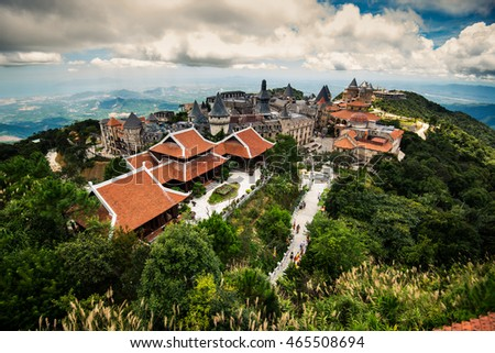 Da Nang, Vietnam - August 7, 2016:Ba Na Hills Mountain Resort, the multi-level complex filled with amusement rides, attractions, restaurants, roller skating...