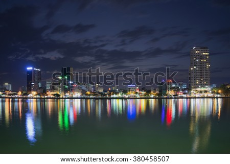 DA NANG, VIETNAM - JANUARY 06, 2016: The urban waterfront of the Han river in evening illumination