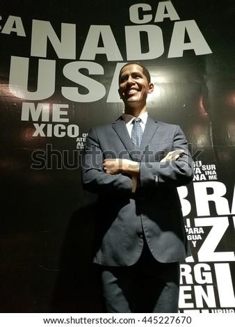 Da Nang, Vietnam - Jun 20, 2016: Barack Obama President of United State of America wax statue on display at Ba Na Hills mountain resort.  - stock photo