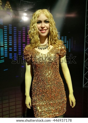 Da Nang, Vietnam - Jun 20, 2016: Shakira wax statue on display at Ba Na Hills mountain resort. Shakira Ripoll is a Colombian singer, songwriter, dancer, record producer, choreographer, and model. - stock photo