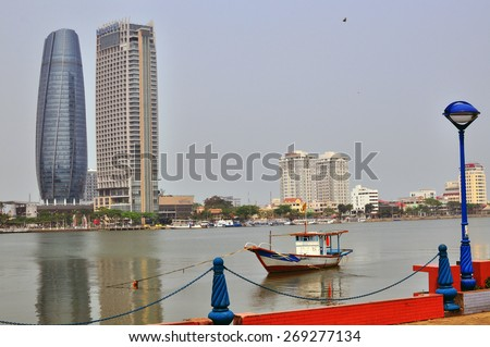 DA NANG, VIETNAM - MARCH 19: View of Da Nang city centre, Vietnam on March 19, 2015. Da Nang is the third largest city of Vietnam.