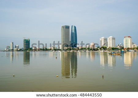 Da Nang,Vietnam - May 26, 2016 : Da Nang city with skyscrapers and beautiful architecture bridges along Han River on a beautiful bay, this the most tourist cities