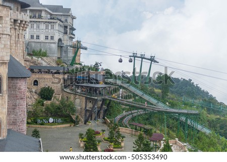 Da Nang, Vietnam - October 24, 2016 : Cable car statioin at Bana hill the architecture of western style, tourism site The multi-level complex filled amusement rides, restaurant in Da Nang, Vietnam .