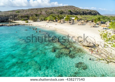 Daaibooi beach and the historic ruins above it -  Curacao views a small Caribbean Island in the Dutch Antilles - stock photo