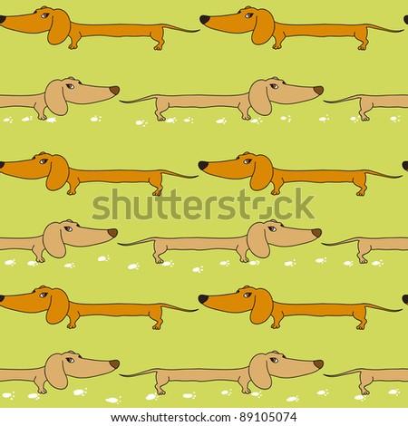 Dachshund seamless pattern in jpg - stock photo