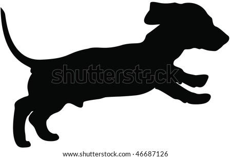 Dachshund silhouette - stock photo