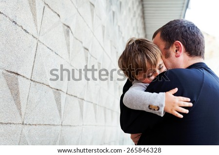 Dad and little son - stock photo