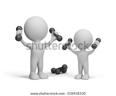 Dad and son do exercises with dumbbells. 3d image. White background.