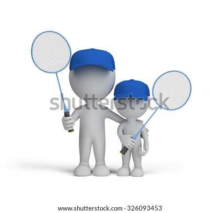 Dad and son with badminton rackets in their hands. 3d image. White background.