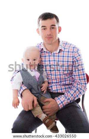 Dad with little son on a white background - stock photo