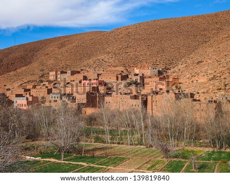 dades valley wild landscape and village in Morocco