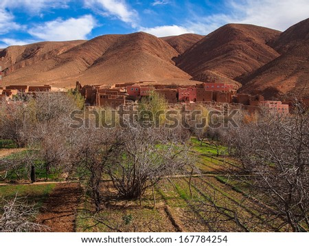 dades valley wild landscape and village in Morocco - stock photo