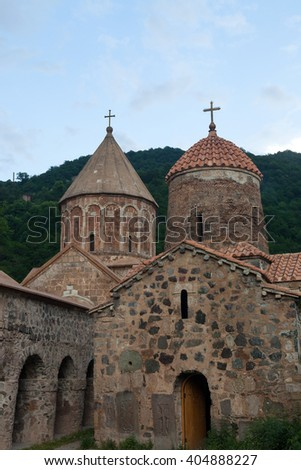 Dadivank monastery complex with two domes and arched entrances