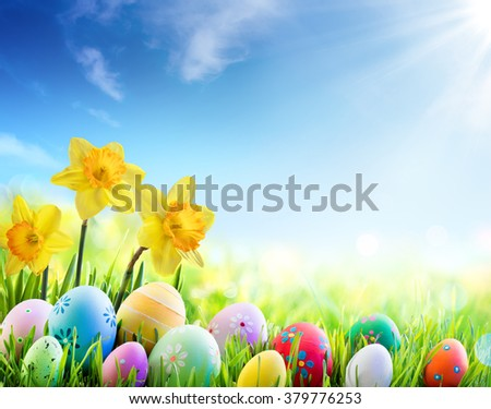 Daffodils And Colorful Decorated Eggs On Sunny Meadow - Easter Holiday Background