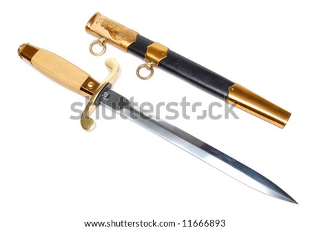 Dagger and sheath isolated over a white background