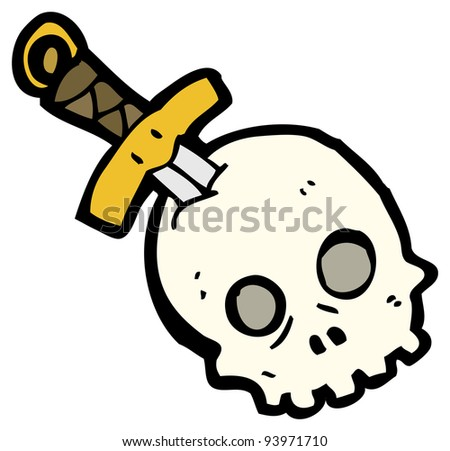 dagger in skull cartoon (raster version)