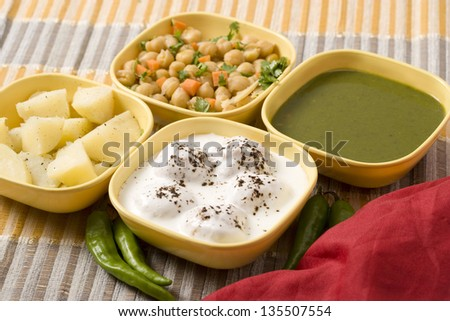 Dahi Bhalle Chaat or Stuffed Panipuri with Curd, Indian Food - stock photo