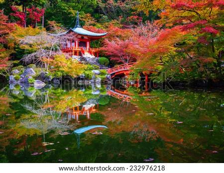 Daigoji Temple in Autumn, Kyoto, Japan - stock photo