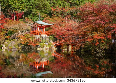 Daigoji temple in red maple trees in momiji or autumn season, Kyoto, Japan - stock photo