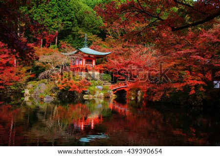 Daigoji Temple with red fall foliage in Kyoto, Japan. Here is very famous landmark during autumn season. - stock photo