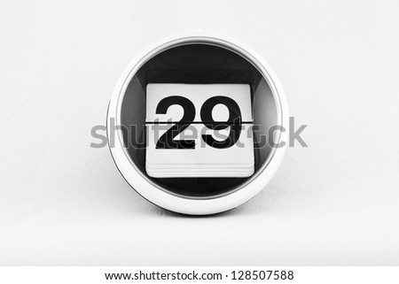 Daily calendar date change on a white background. day 29 - stock photo