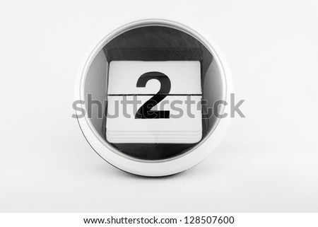 Daily calendar date change on a white background. day 2 - stock photo