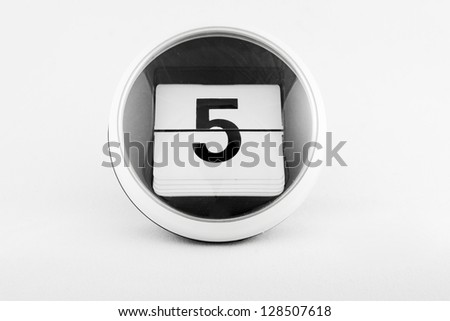 Daily calendar date change on a white background. day 5 - stock photo