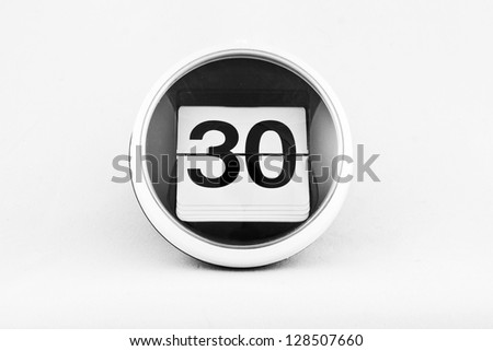 Daily calendar date change on a white background. day 30 - stock photo
