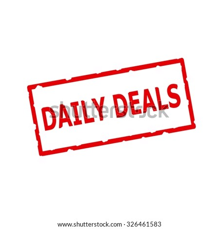 daily deals red stamp text on Rectangular white background
