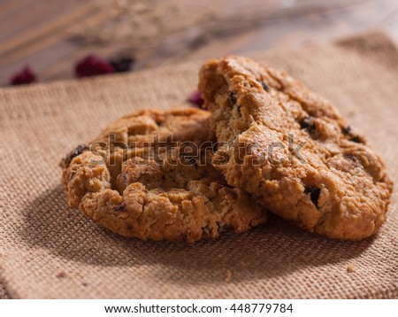 Daily homemade Cookies on wood board