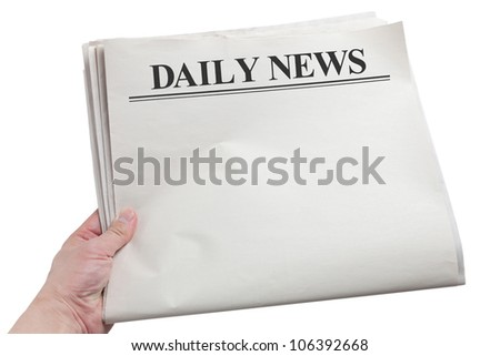 Daily News, Blank Newspaper with white background - stock photo