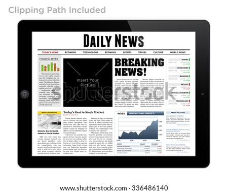 Daily News on Tablet Isolated with Clipping Path. - stock photo