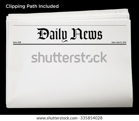 Daily Newspaper Blank Content Isolated with Clipping Path. - stock photo