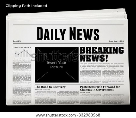 Daily Newspaper Isolated with Clipping Path. - stock photo