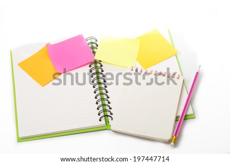 Daily note book isolated with white background - stock photo
