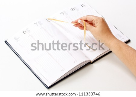 Daily planner on white background