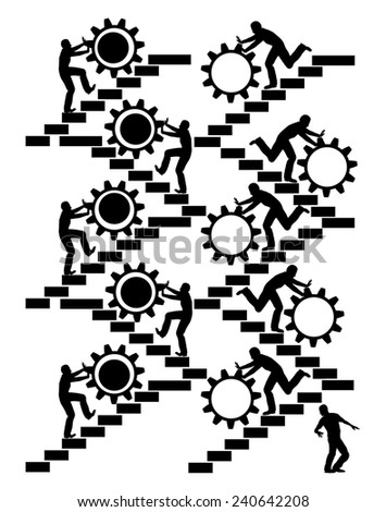 Daily Routine at Work. Concept sign of workers on their daily routine work - stock photo
