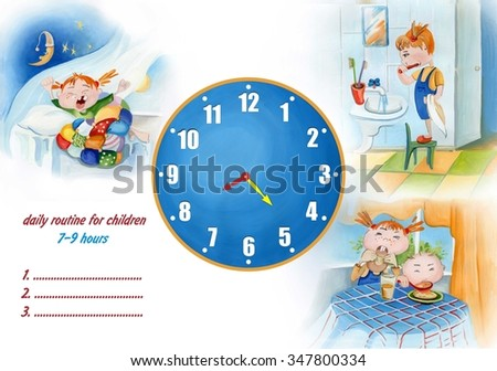 daily routine for children - stock photo