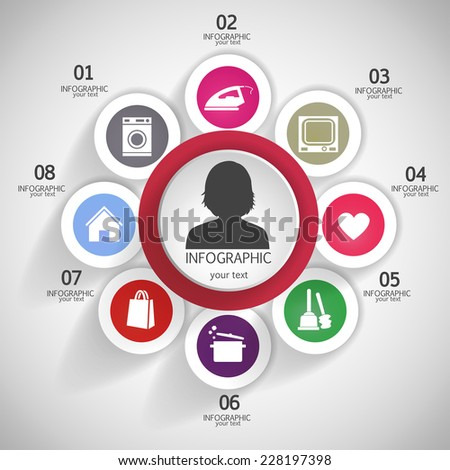 Daily Routine women. Modern business. Can be used for infographic, banner template, diagram, pictogram - stock photo
