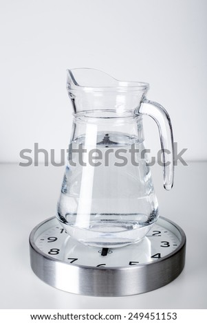 Daily water needs. Daily water requirements. Water jug on a clock