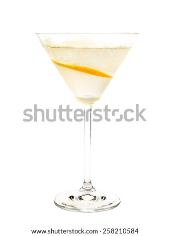 Daiquiri cocktail isolated on white background. It's made from 2 oz rum,1/2 lime juice,1 tsp castor sugar - stock photo