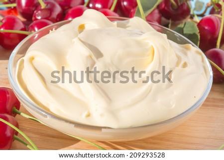 dairy cherry curd yogurt  - stock photo