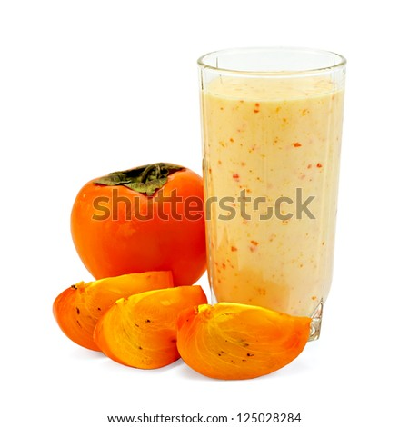 Dairy cocktail in the high glass beaker with persimmon isolated on white background - stock photo