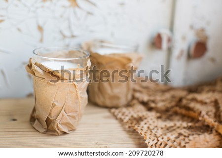 Dairy cottage cheese and yogurt in a rural provincial farmhouse style - stock photo