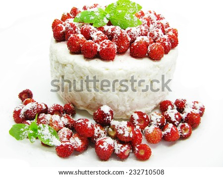 dairy curd pudding dessert with wild strawberry berries - stock photo